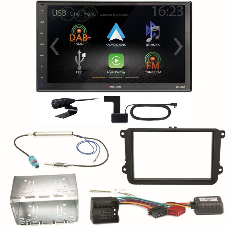 Zenec Z-N966 Moniceiver CarPlay DAB+ Einbauset für Skoda Fabia Roomster Praktik