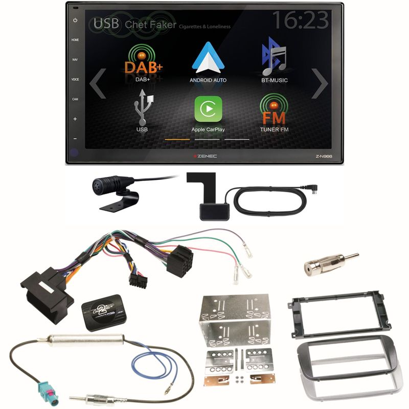 Zenec Z-N966 Moniceiver CarPlay USB Einbauset für Ford Focus Mondeo S-Max Galaxy