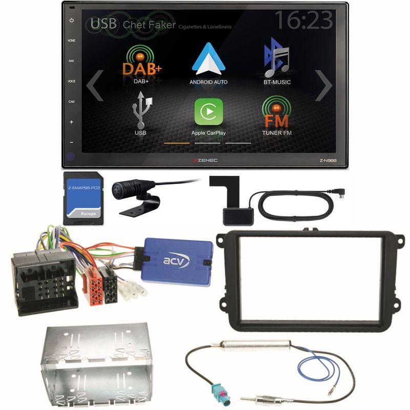 Zenec Z-N966 Naviceiver CarPlay DAB+ USB Einbauset für Beetle Jetta Sharan T5