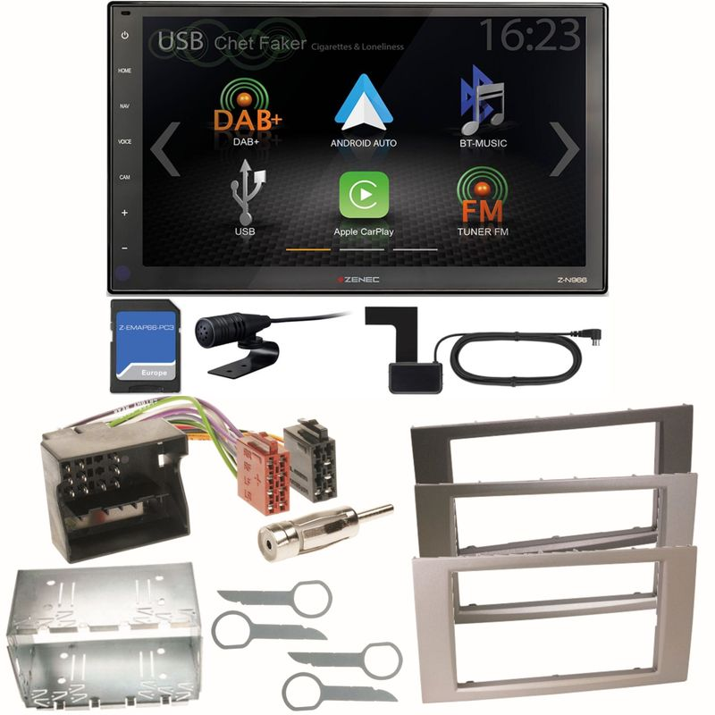 Zenec Z-N966 Naviceiver CarPlay USB Einbauset für Ford Focus Fusion Galaxy S-Max