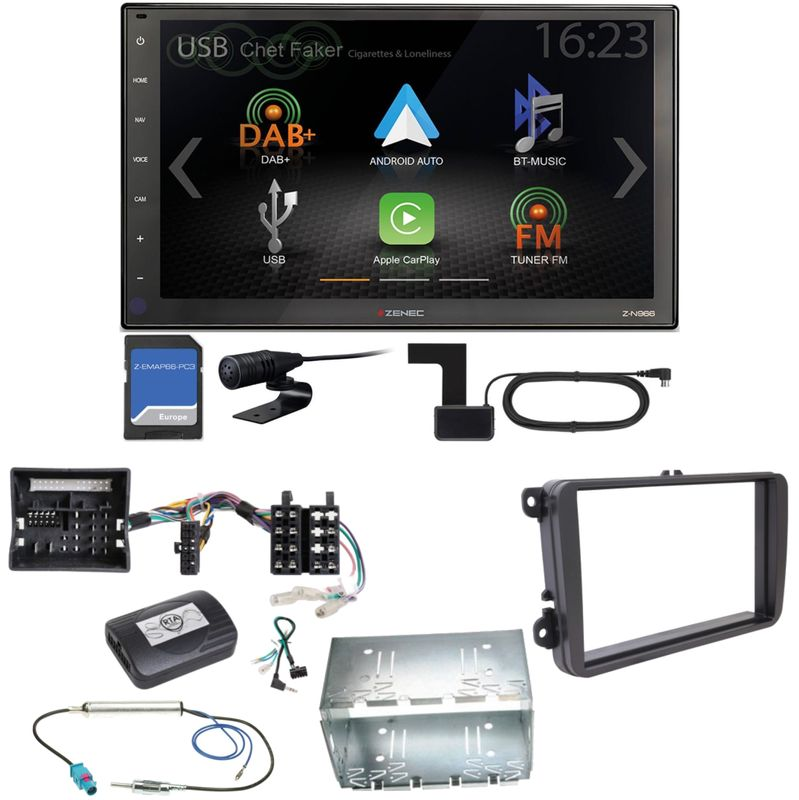 Zenec Z-N966 Naviceiver Android Auto DAB+ USB Einbauset für T6 Sharan 2 Beetle