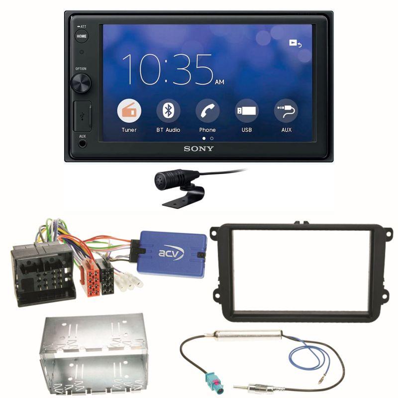 Sony XAV-V10BT Moniceiver Bluetooth USB MP3 Einbauset für Beetle Jetta Sharan T5