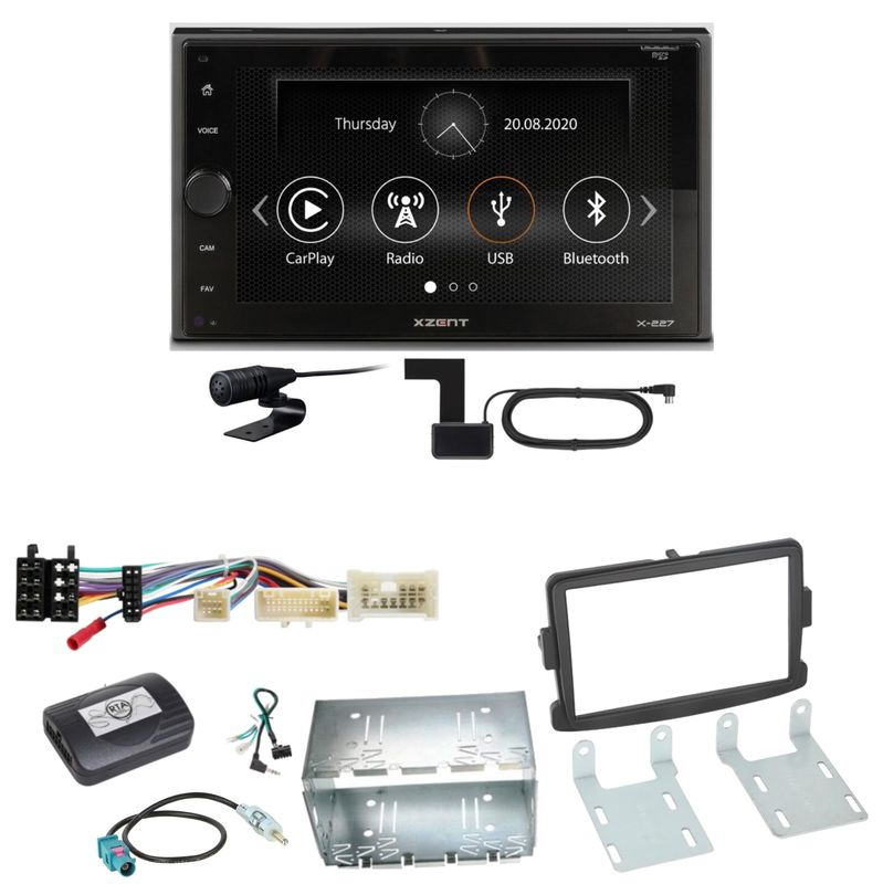 Xzent X-227 Carplay Digitalradio USB MP3 Einbauset für Dacia Duster Lodgy Logan