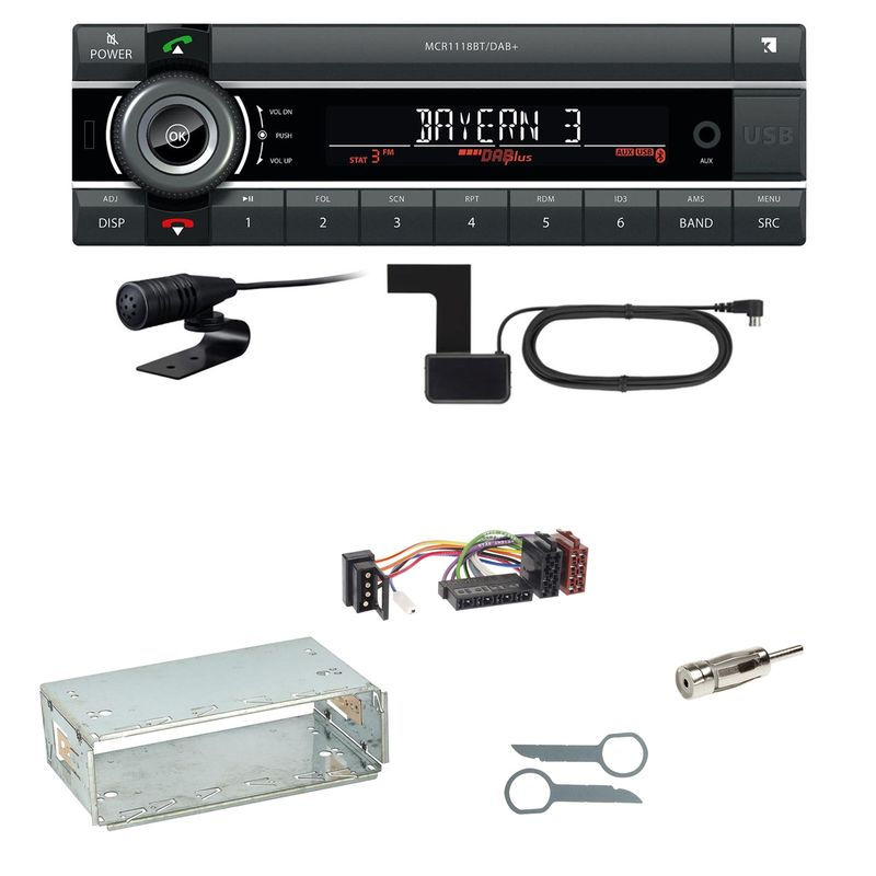Kienzle MCR 1118 DAB Bluetooth Digitalradio Einbauset für Mercedes E-Klasse W124