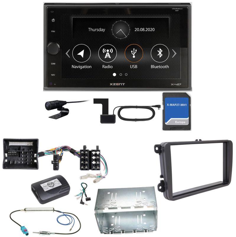 Xzent X-427 Navigation Digitalradio Bluetooth Einbauset für T6 Sharan 2 Beetle