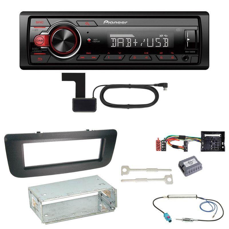 Pioneer MVH-130DAB Digitalradio USB Einbauset für Skoda Fabia 2 Roomster