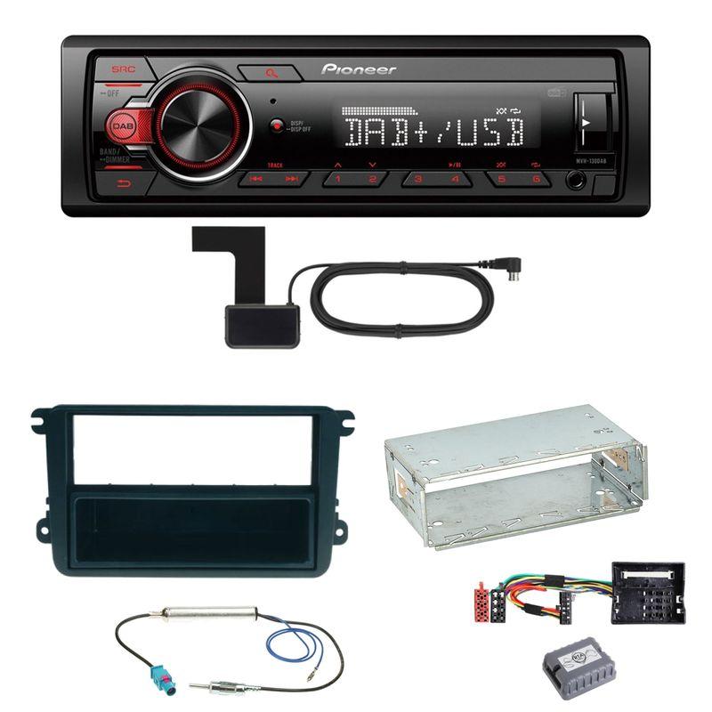 Pioneer MVH-130DAB Digitalradio USB Einbauset für EOS Polo Caddy Amarok Scirocco