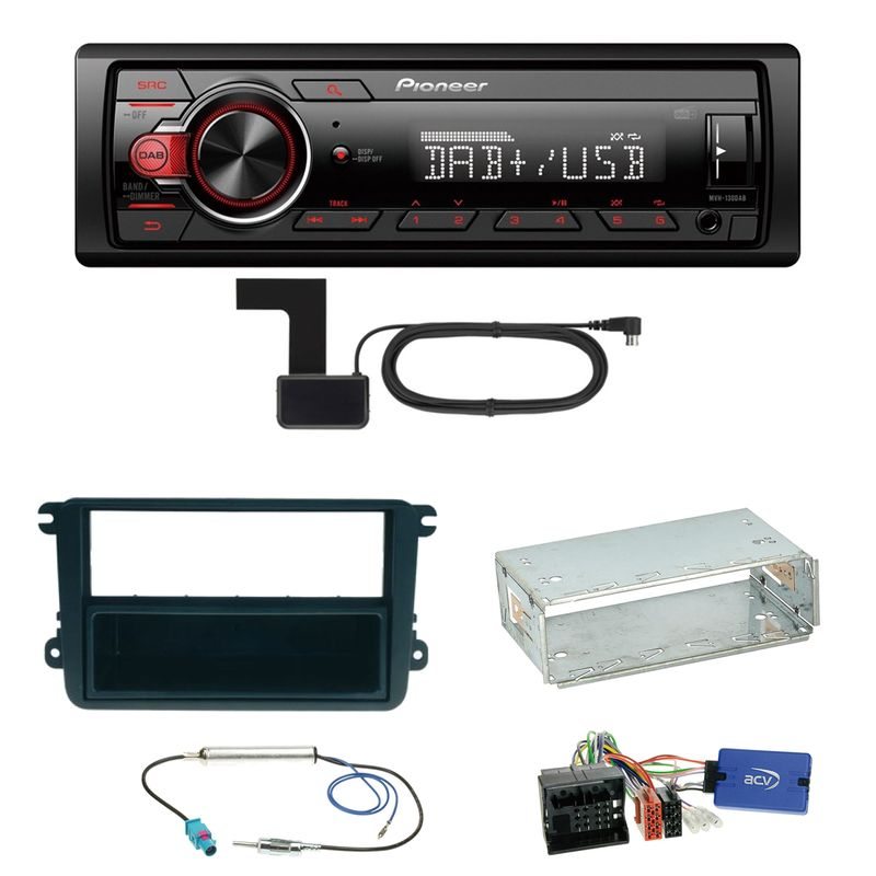 Pioneer MVH-130DAB Digitalradio USB Einbauset für Seat Leon Alhambra Altea XL