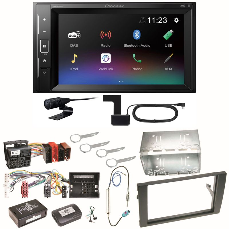 Pioneer DMH-A240DAB Digitalradio Bluetooth Einbauset für Audi A4 B6 B7 Seat Exeo