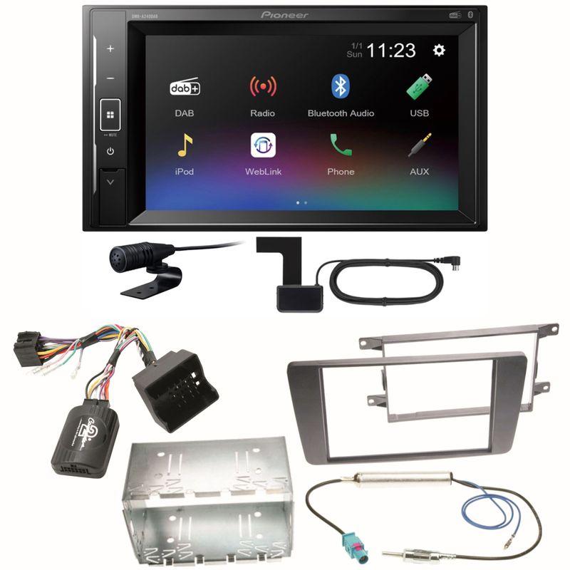 Pioneer DMH-A240DAB Digitalradio Bluetooth Einbauset für Skoda Octavia 2 Yeti 5L