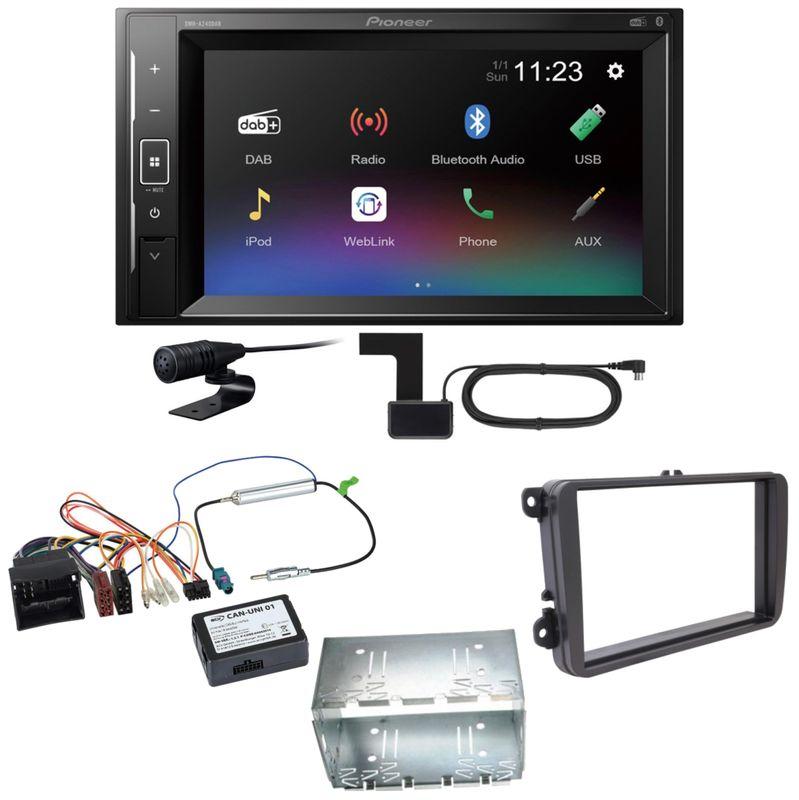 Pioneer DMH-A240DAB DAB+ Bluetooth Einbauset für Tiguan Amarok Caddy Jetta
