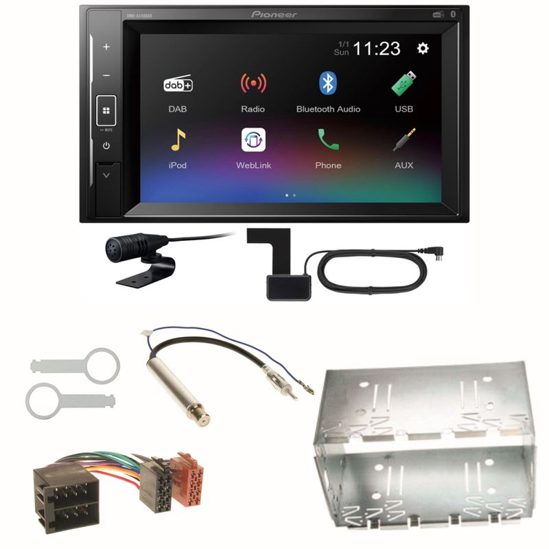 Pioneer DMH-A240DAB DAB+ Bluetooth Einbauset für Polo 6N2 9N Bora Ibiza 6L