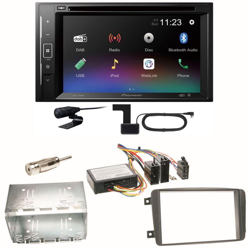 Pioneer AVH-A240DAB Digitalradio Bluetooth Einbauset für Mercedes C-Klasse W203 CLK W208 W209