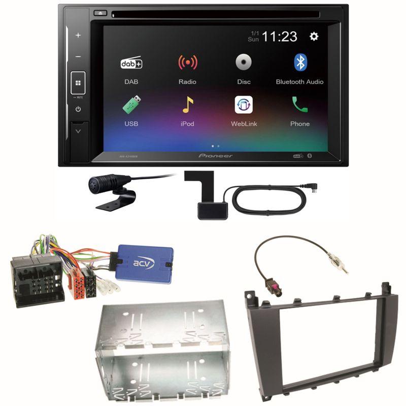 Pioneer AVH-A240DAB Digitalradio Bluetooth Einbauset für Mercedes C-Klasse W203 CLC CL203 S203