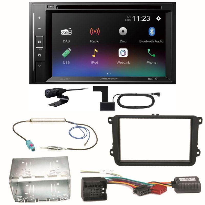 Pioneer AVH-A240DAB DAB+ Bluetooth Einbauset für EOS Polo Caddy Amarok Scirocco