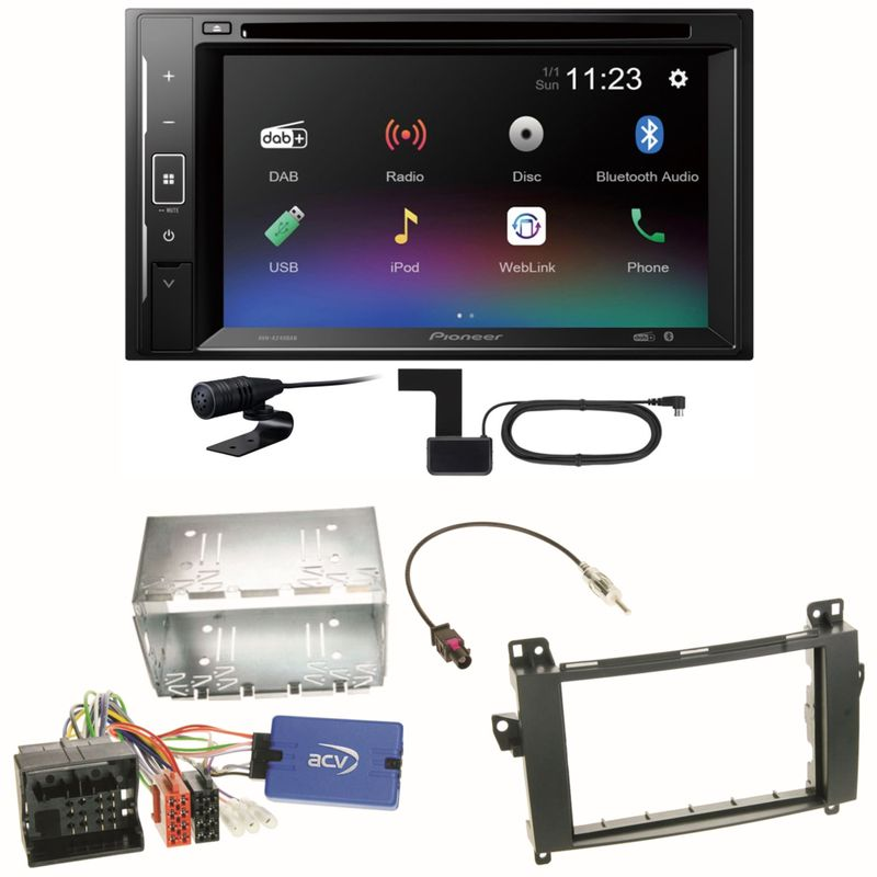 Pioneer AVH-A240DAB Digitalradio Bluetooth Einbauset für Mercedes Vito W447