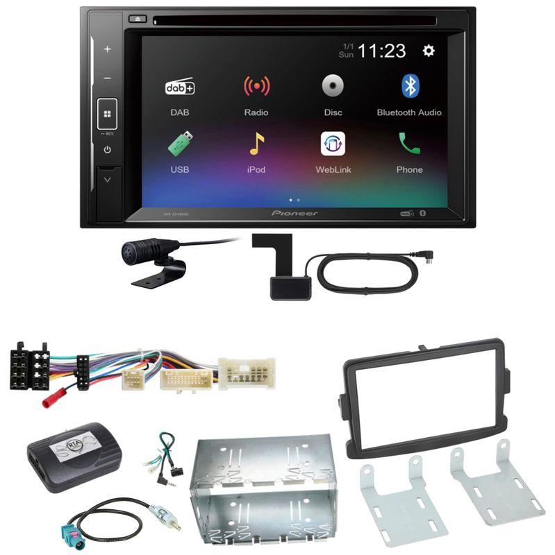 Pioneer AVH-A240DAB Digitalradio Bluetooth Einbauset für Dacia Dokker Sandero
