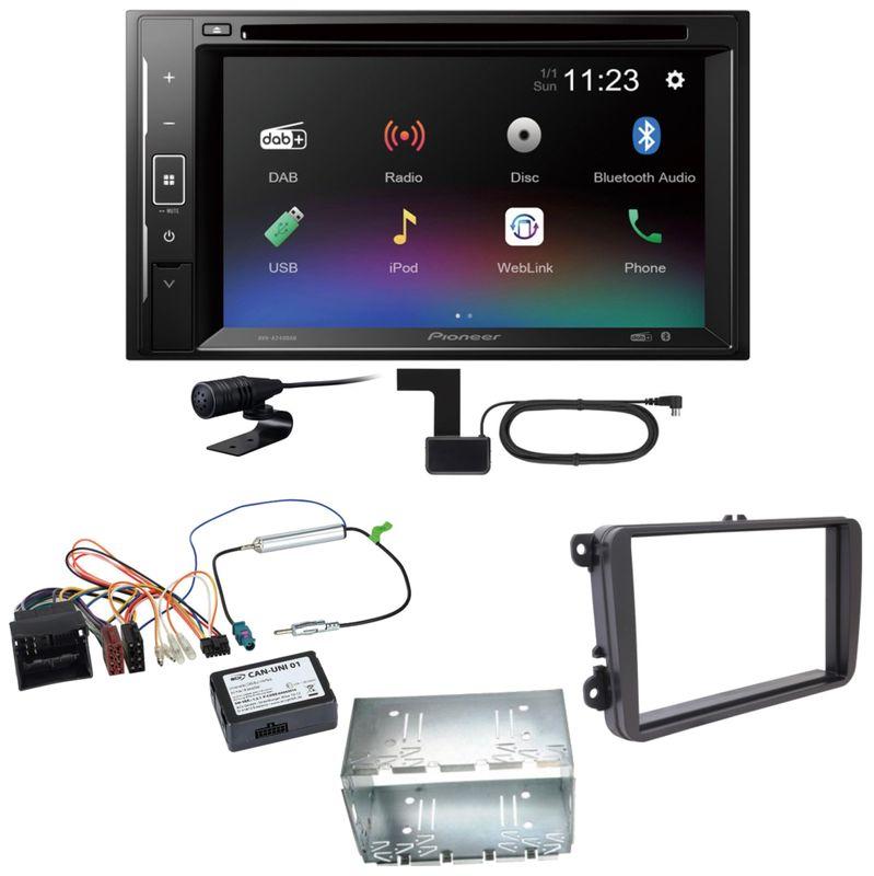 Pioneer AVH-A240DAB Digitalradio Bluetooth Einbauset für T6 Sharan 2 Beetle