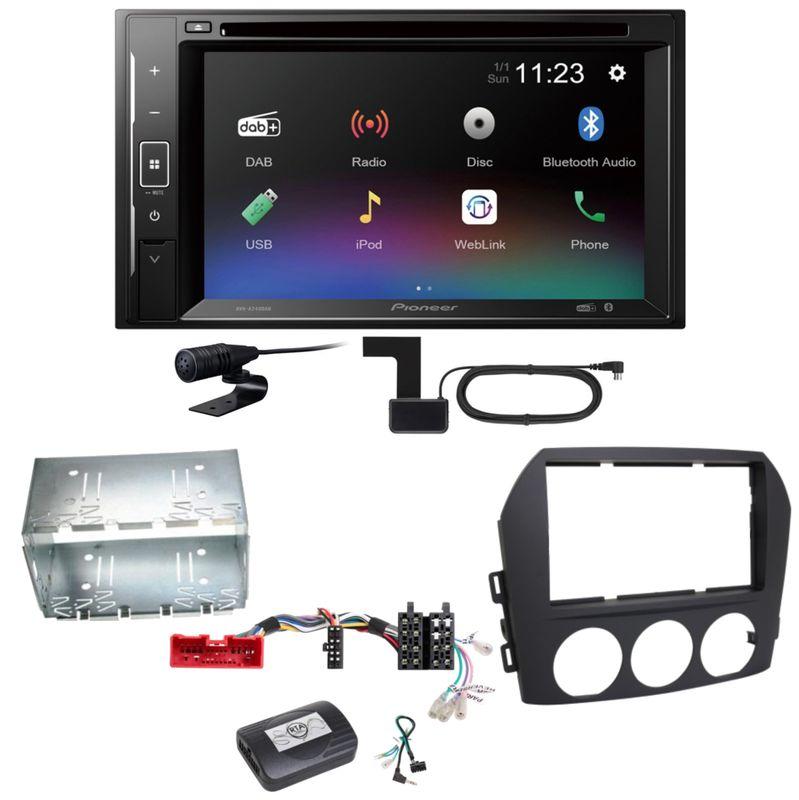 Pioneer AVH-A240DAB Digitalradio Bluetooth Einbauset für Mazda MX-5 NC FL