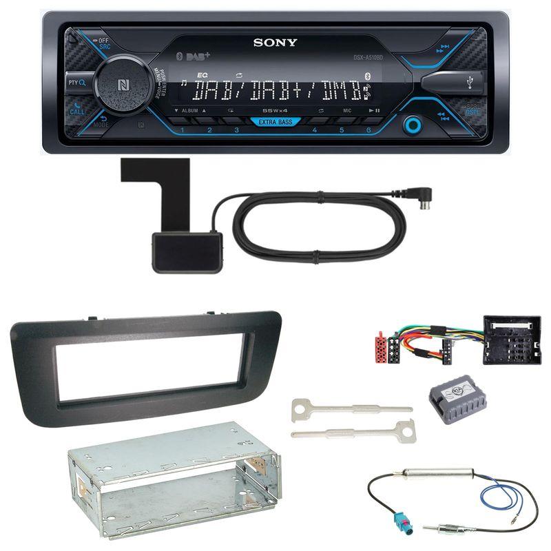 Sony DSX-A510BD Bluetooth Digitalradio Einbauset für Skoda Fabia 2 Roomster