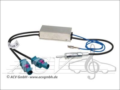 DIN-Antennenadapter 2x Fakra (Z) mit Phantomeinspeisung für Audi Seat Skoda