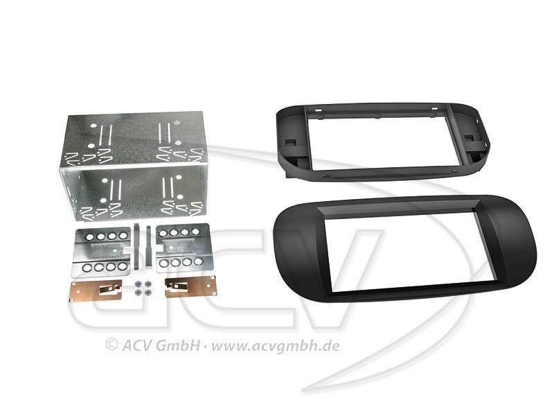 2-DIN Radioblende Fiat 500 Einbaurahmen Radiohalterung Doppel-DIN Set