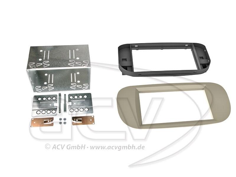 2-DIN Radioblende Fiat 500 Beige Einbaurahmen Radiohalterung Doppel-DIN Set