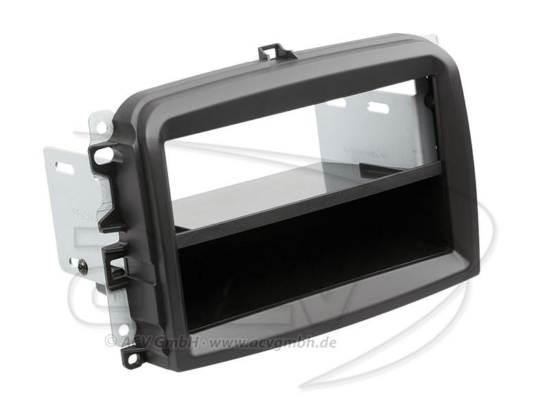 1-DIN Radioblende Fiat 500 L Einbaurahmen Radiohalterung Schwarz Doppel-DIN Set