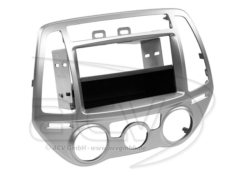 1-DIN Radioblende Hyundai i20 Einbaurahmen Radiohalterung Doppel-DIN Set