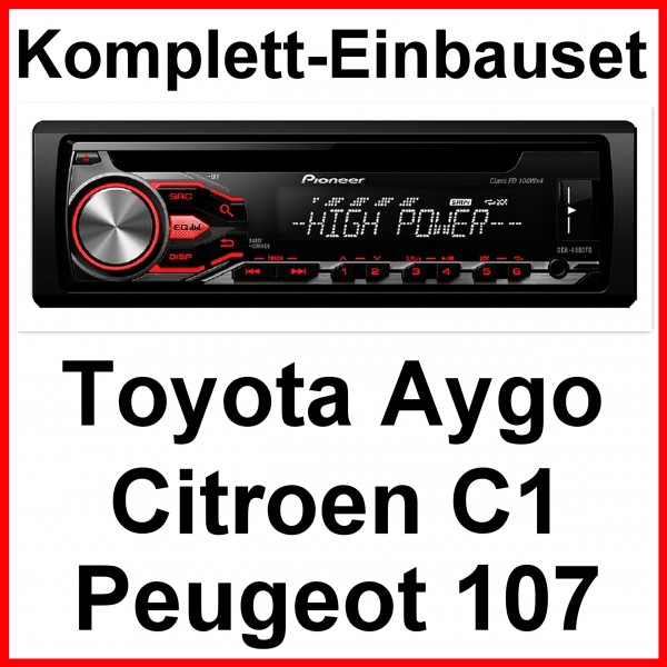 pioneer deh 4800fd autoradio mp3 einbauset f r toyota aygo. Black Bedroom Furniture Sets. Home Design Ideas