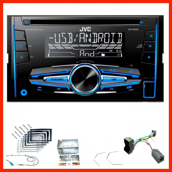 jvc kw r520 usb autoradio mp3 einbauset f r opel astra h corsa d zafira b antara. Black Bedroom Furniture Sets. Home Design Ideas