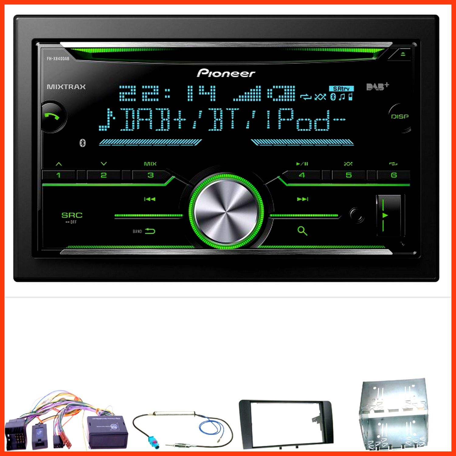 pioneer fh x840dab autoradio usb dab cd aux mp3 einbauset. Black Bedroom Furniture Sets. Home Design Ideas