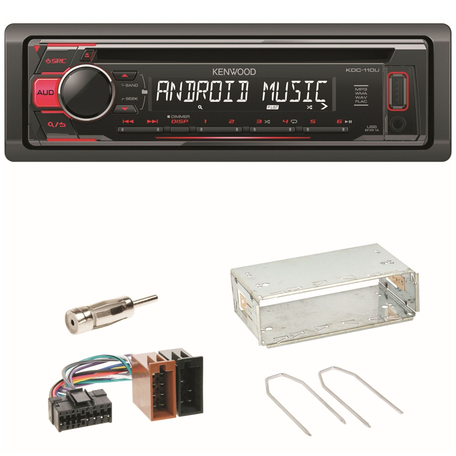 kdc 110ur autoradio usb flac mp3 cd einbauset f r renault clio twingo 1 2. Black Bedroom Furniture Sets. Home Design Ideas