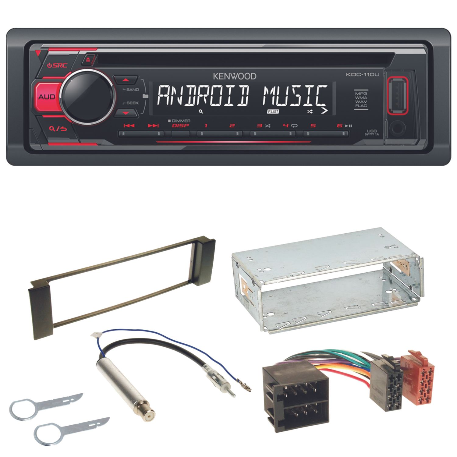Kdc 110ur usb autoradio aux mp3 flac cd einbauset f r seat for Mueble 2 din seat leon 1m
