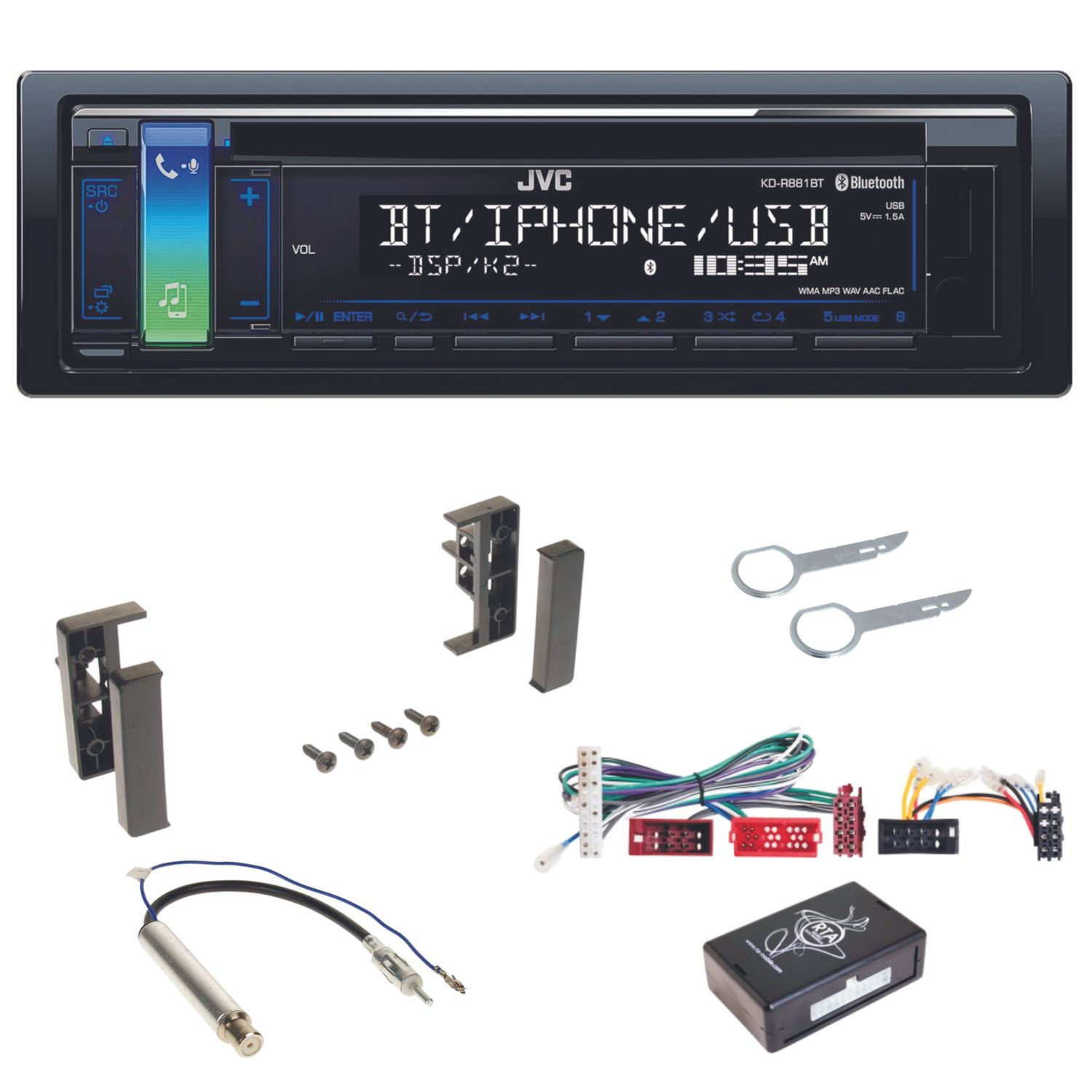 jvc kd r881bt usb autoradio mp3 bluetooth cd aux aoa 2 0. Black Bedroom Furniture Sets. Home Design Ideas