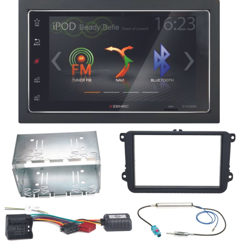 ZENEC Z N326 Bluetooth USB MP3 Autoradio Einbauset für Skoda Fabia Roomster Praktik