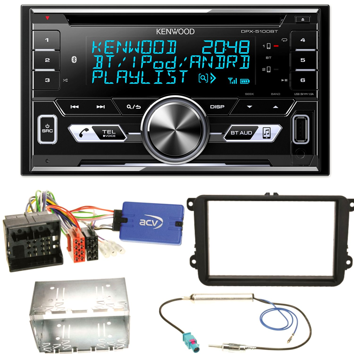 Kenwood DPX-5100BT CD MP3 Double Din Bluetooth Car Stereo USB Aux iPhone Android