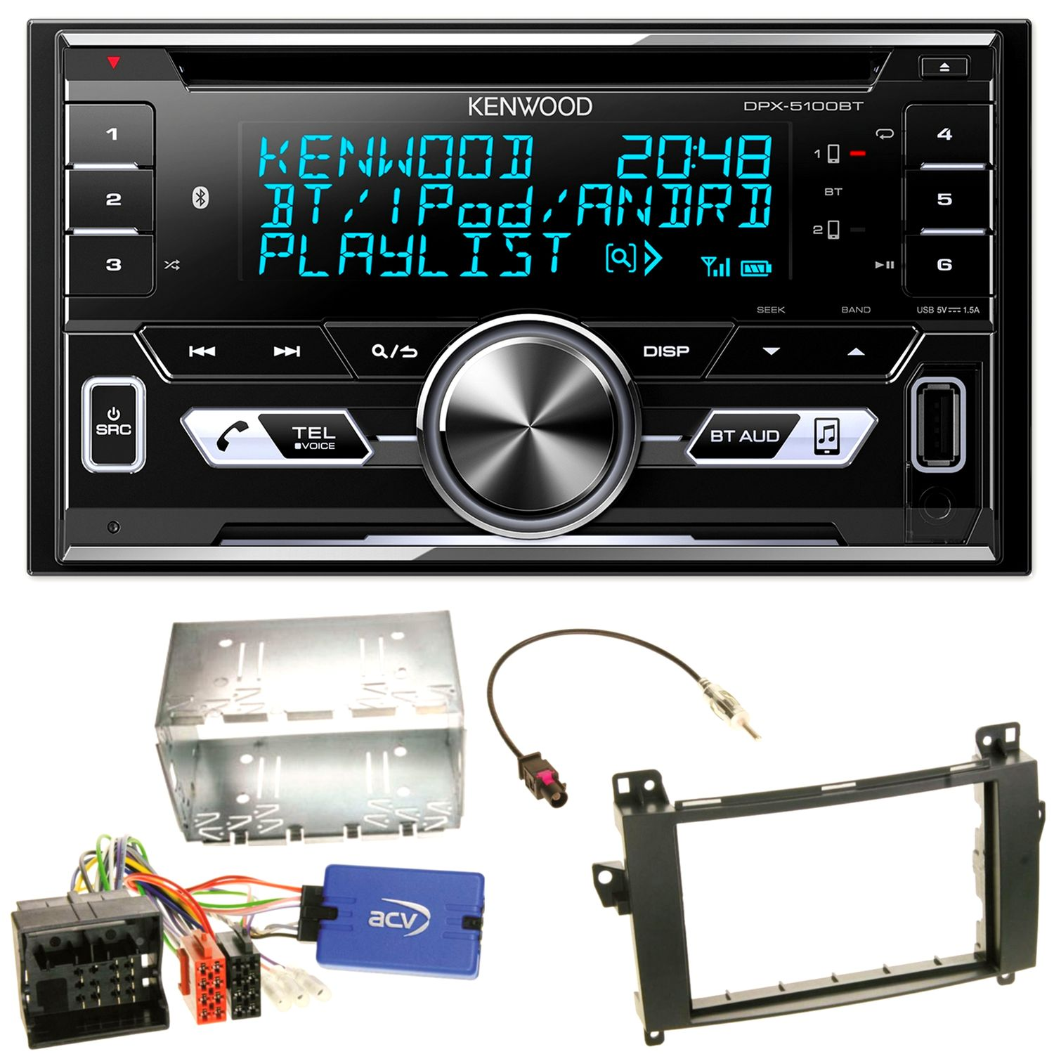 Super Kenwood DPX-5100BT Autoradio iPhone Einbauset für Mercedes A W169 VX-93