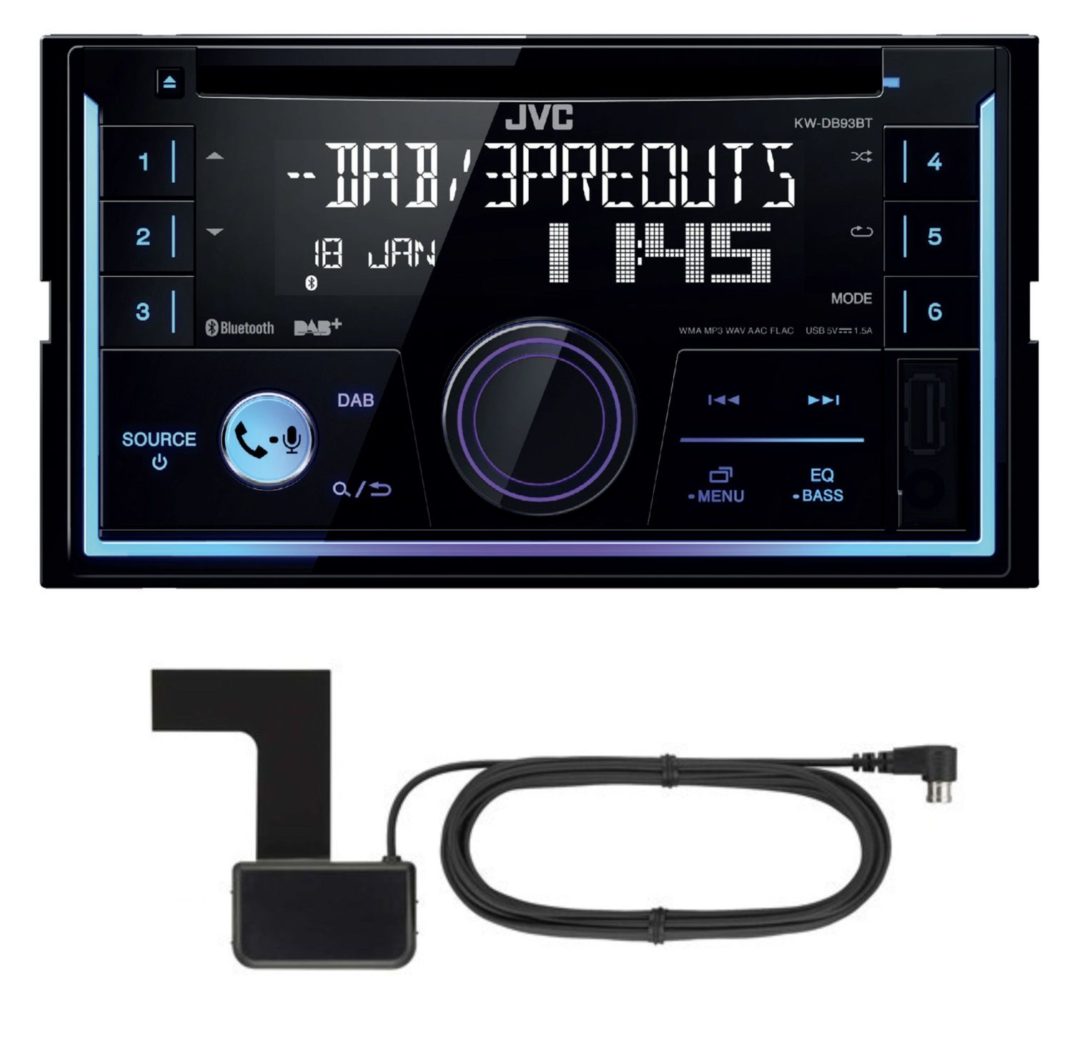 jvc kw db93bt 2 din cd mp3 dab autoradio usb bluetooth. Black Bedroom Furniture Sets. Home Design Ideas