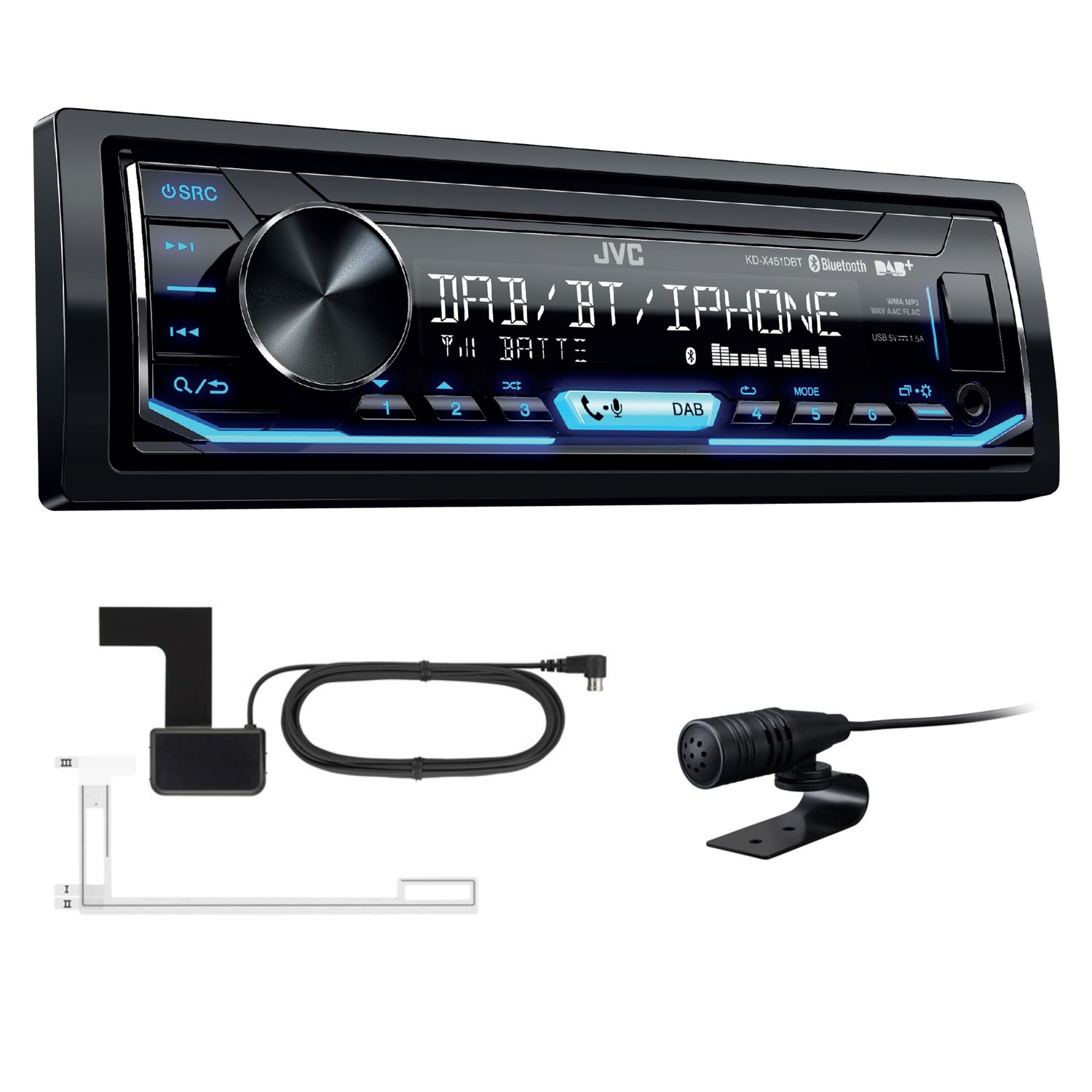 jvc kd x451dbt usb aux mp3 autoradio digitalradio. Black Bedroom Furniture Sets. Home Design Ideas