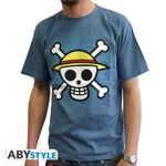 One Piece T-Shirt: Skull with Map Herren T-Shirt (Blau) Größe M