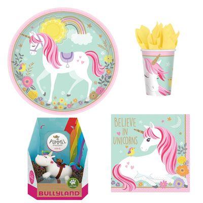 Magical Unicorn Einhorn Partyset + Torten Deko Pummeleinhorn Riding 16 Personen