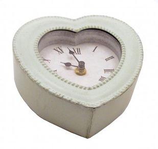 Wanduhr grau - grün Uhr HERZ Romantik Metallrahmen Vintage – Bild 2