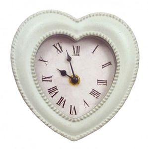 Wanduhr grau - grün Uhr HERZ Romantik Metallrahmen Vintage