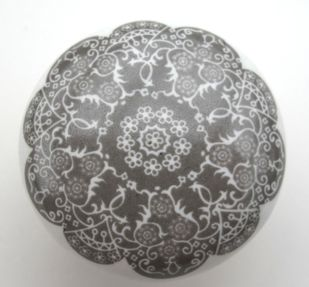 Eleganter Möbelknopf grau Ornament Knauf Porzellan – Bild 2
