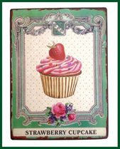 Wandschild STRAWBERRY CUPCAKE Retro Schild 2D Metall – Bild 1