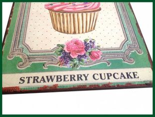 Wandschild STRAWBERRY CUPCAKE Retro Schild 2D Metall – Bild 2