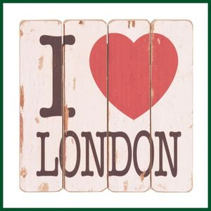 Holzschild I LOVE LONDON Landhausstil Schild Holz