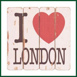 Holzschild I LOVE LONDON Landhausstil Schild Holz – Bild 1