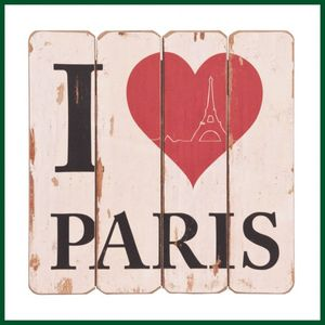 Dekoratives Holzschild I LOVE PARIS Schild Holz Antik – Bild 1